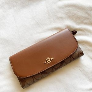 Coach Leather Signature Checkbook Wallet